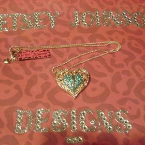 Betsey Johnson Blue Heart Sweater Chain